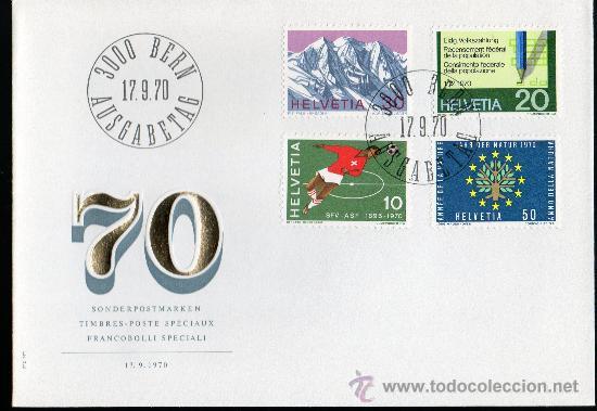 SUIZA AÑO 1970 YV 864/67 SPD - ACONTECIMIENTOS DIVERSOS - DEPORTES - FUTBOL - NATURALEZA - ÁRBOLES (Sellos - Extranjero - Europa - Suiza)