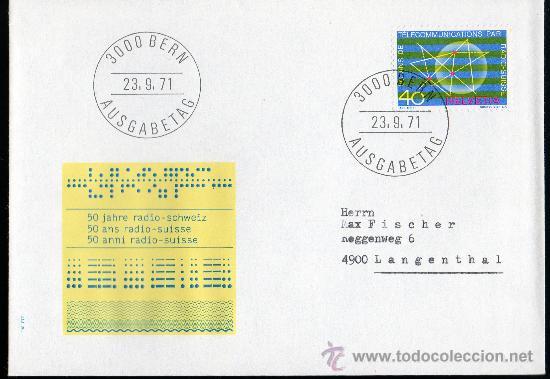 SUIZA AÑO 1971 YV 897 SPD 50 ANVº DE LA RADIO SUIZA - TELECOMUNICACIONES - ACONTECIMIENTOS DIVERSOS (Sellos - Extranjero - Europa - Suiza)