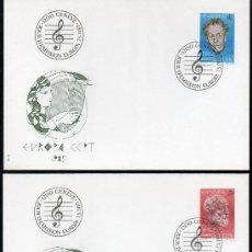 Sellos: SUIZA AÑO 1985 YV 1223/24 SPD - EUROPA - PERSONAJES CÉLEBRES - MÚSICA. Lote 29127236