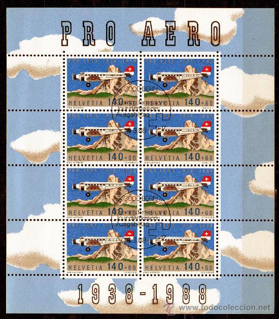 SUIZA AÑO 1988 YV A 49*º HB EN MP - 50 ANVº PRO AEREO - AVIONES - TRANSPORTES (Sellos - Extranjero - Europa - Suiza)