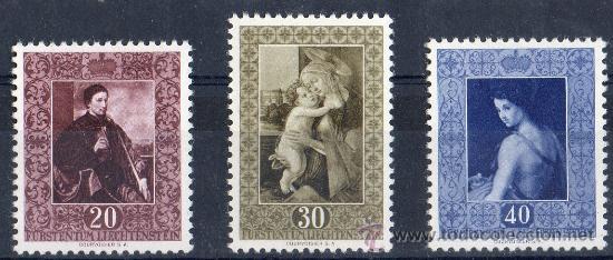 LIECHTENSTEIN AÑO 1952 YV 268/70* CUADROS DE LA COLECCIÓN DEL PRINCIPADO - PINTURA - ARTE (Sellos - Extranjero - Europa - Suiza)