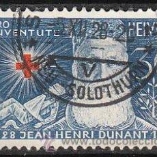 Sellos: SUIZA IVERT 234, PRO JUVENTUTE 1928, CENTENARIO DE DUNANT, FUNDADOR DE LA CRUZ ROJA, USADO. Lote 29712276