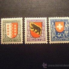Sellos: SUIZA Nº YVERT 185/7** AÑO 1921. PRO JUVENTUD. ESCUDOS DE CANTONES. SERIE CON CHARNELA. Lote 30214758