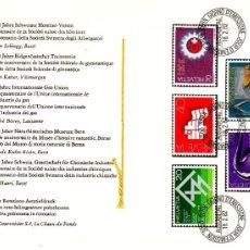 Sellos: SUIZA 1143/7 LIBRITO PRIMER DIA, HOLEL, GIMNASIA, INDUSTRIA GAS, MUSEO HISTORIA NATURAL, QUIMICA, . Lote 32798664
