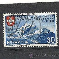 Sellos: SUIZA 1939, ZUMSTEIN Nº 221, GLACIAR TSCHIERVA-LEYENDA EN ALEMAN.MATASELLADO. Lote 33050370