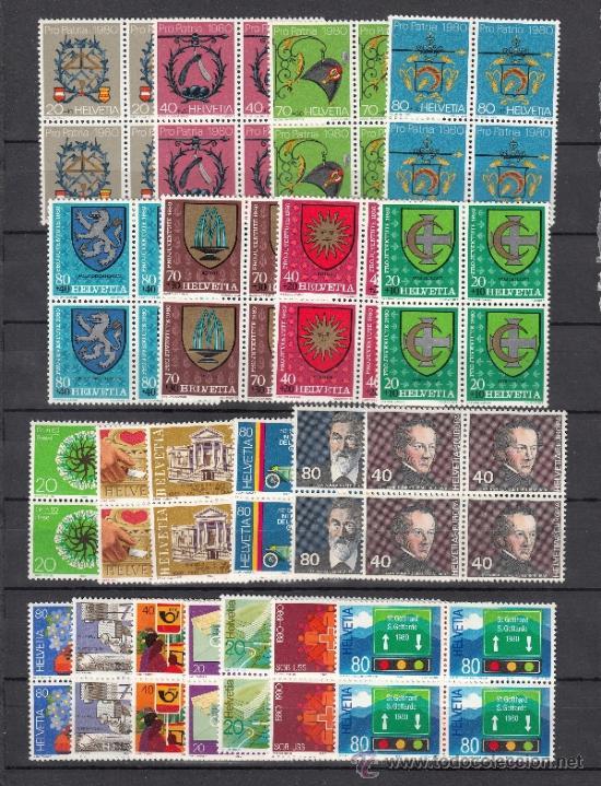 SUIZA 1100/20 EN B4 SIN CHARNELA, AÑO 1980 VALOR CAT 84.40 € + (Sellos - Extranjero - Europa - Suiza)