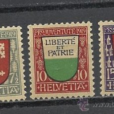Sellos: SUIZA 1919, ZUMSTEIN Nº 12/14*, PRO JUVENUD. FIJASELLOS. Lote 36414782