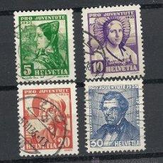 Sellos: SUIZA 1935, ZUMSTEIN Nº 73/76 PRO JUVENTUD. MATASELLADO. Lote 36574425