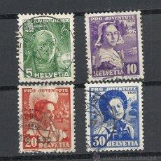Sellos: SUIZA 1936, ZUMSTEIN Nº 77/80 PRO JUVENTUD. MATASELLADO. Lote 36574576