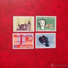Sellos: SUIZA 1958, YVERT 602-05, NUEVOS. Lote 39700432