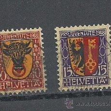 Sellos: SUIZA 1918, ZUMSTEIN Nº 10/11, PRO JUVENTUD, MATASELLADO. Lote 41324809