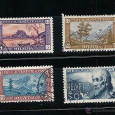 Sellos: SUIZA 1929, ZUMSTEIN Nº 49/52, PRO JUVENTUD. MATASELLADO. Lote 41516791