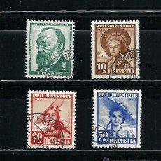 Sellos: SUIZA 1940, YVERT Nº 354/357, PRO JUVENTUD.MATASELLADO. Lote 41594850