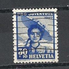Sellos: SUIZA 1940, YVERT Nº 357, PRO JUVENTUD.MATASELLADO . Lote 42160671