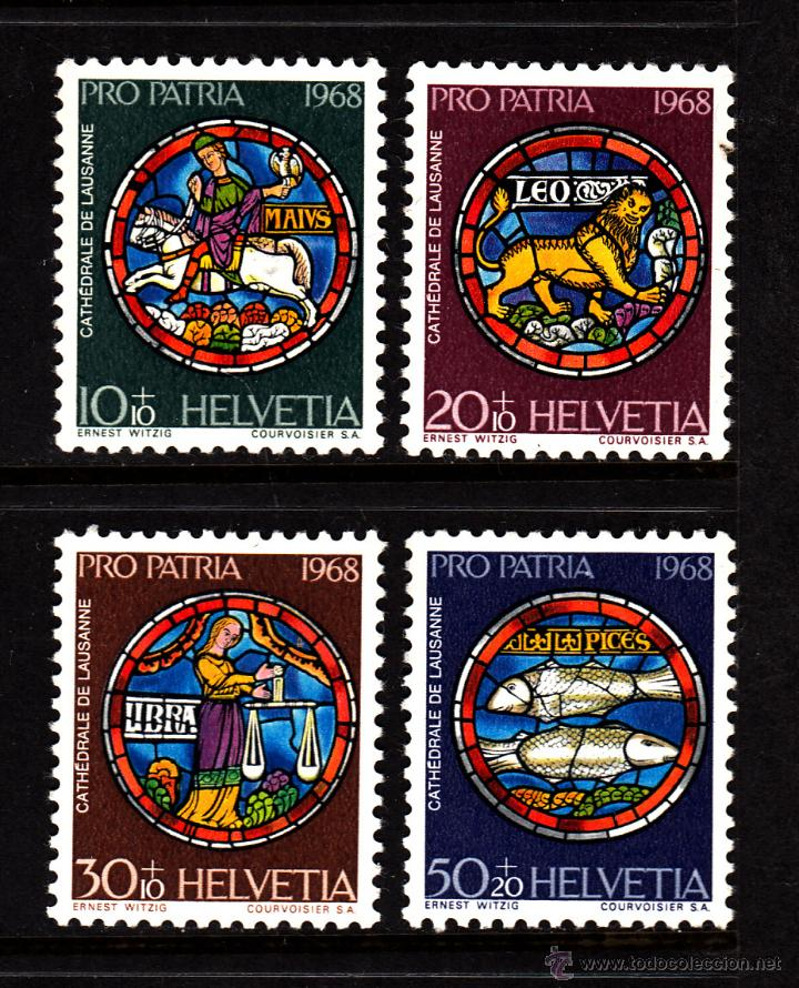 SUIZA 807/10** - AÑO 1968 - PRO PATRIA - VIDRIERAS DE LA CATEDRAL DE LAUSANA (Sellos - Extranjero - Europa - Suiza)
