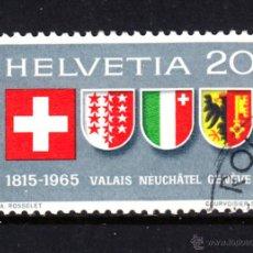 Sellos: SUIZA 752 - AÑO 1965 - 150º ANIVERSARIO DE VALAIS, NEUCHATEL Y GINEBRA EN LA CONFEDERACIÓN. Lote 144059604
