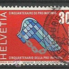 Sellos: SUIZA 1970 SELLO CINCUENTENARIO PRO INFIRMIS. Lote 45459742