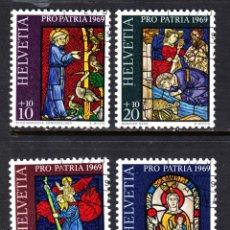 Sellos: SUIZA 834/37 - AÑO 1969 - PRO PATRIA - VIDRIERAS. Lote 45508583