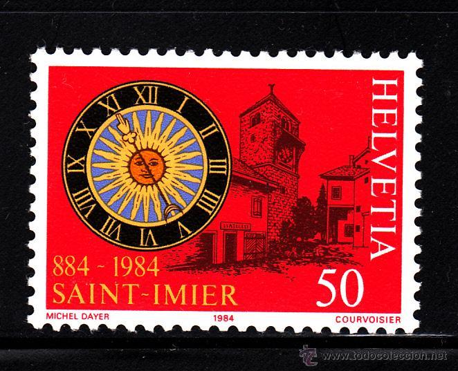 SUIZA 1197** - AÑO 1984 - 1100º ANIV. DE LA CIUDAD DE SAINT IMIER - RELOJ DE LA TORRE DE SAN MARTIN (Sellos - Extranjero - Europa - Suiza)