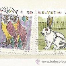 Timbres: 1991 SUIZA. ANIMALES: LECHUZA Y CONEJO. Lote 46985192