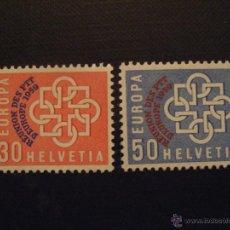 Sellos: SUIZA Nº YVERT 632/3** AÑO 1959.CONFERENCIA EUROPEA DE CORREOS Y TELECOMUNICACION SERIE CON CHARNELA. Lote 47099454