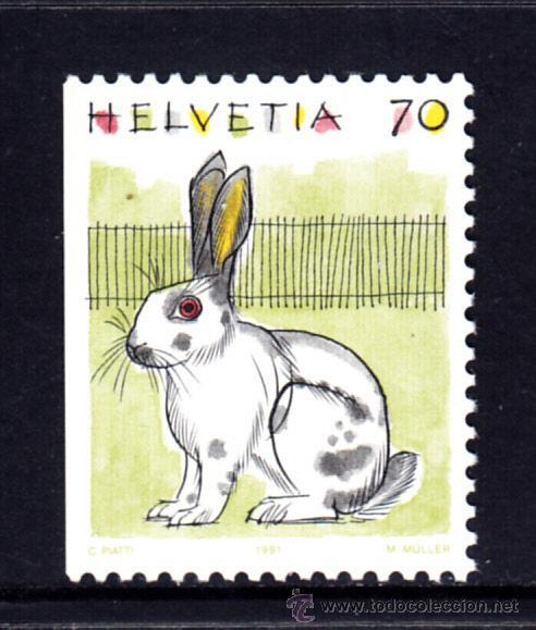 SUIZA 1364A** - AÑO 1991 - FAUNA - CONEJOS (Sellos - Extranjero - Europa - Suiza)