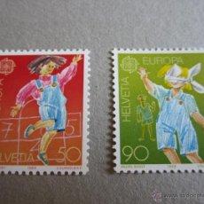 Sellos: SUIZA 1989, YVERT Nº 1323/1324**, EUROPA, JUEGOS INFANTILES. Lote 49125955