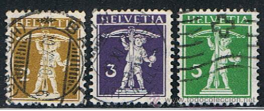 SU 420** YVERT 134,135,136** 1909** USADO (Sellos - Extranjero - Europa - Suiza)