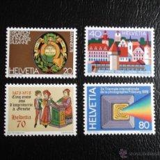 Sellos: SUIZA. 1046/49 LEMANEX'78, ANIVERSARIO CIUDAD DE LUCERNA, ANIVERSARIO DE LA IMPRENTA DE GINEBRA Y FO. Lote 53400916