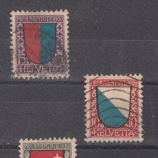 Sellos: SUIZA 176/8 USADA, PRO JUVENTUD, ESCUDOS CANTONES DE SUIZA. Lote 53735116