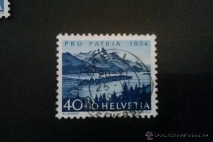 SUIZA YVERT 552 , LAGO DE SILS , PRO PATRIA 1954 (Sellos - Extranjero - Europa - Suiza)