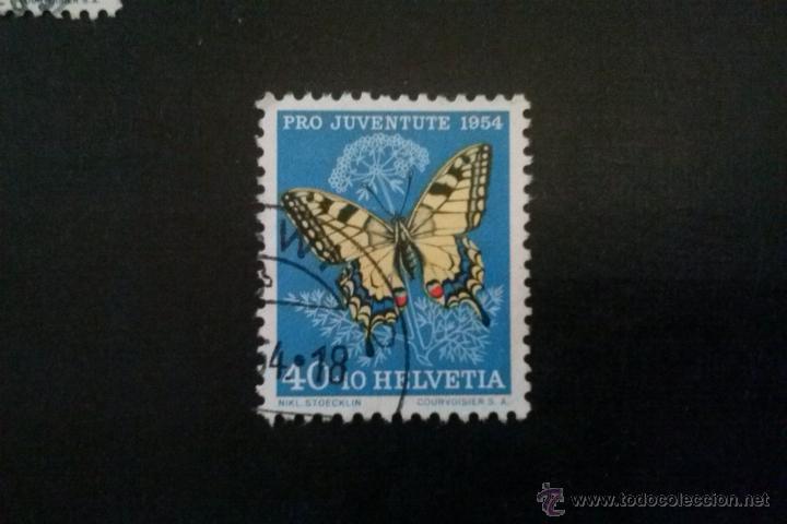SUIZA YVERT 557 , FAUNA MARIPOSAS , PRO JUVENTUD 1954 (Sellos - Extranjero - Europa - Suiza)