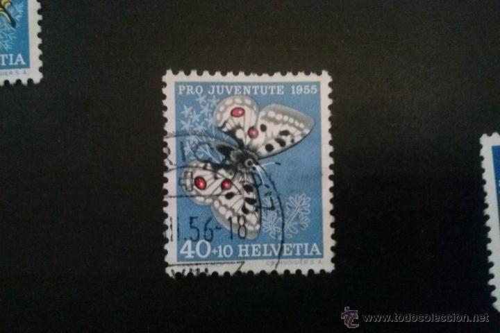 SUIZA YVERT 571 , FAUNA MARIPOSAS , PRO JUVENTUD 1955 (Sellos - Extranjero - Europa - Suiza)