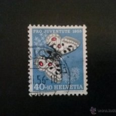 Sellos: SUIZA YVERT 571 , FAUNA MARIPOSAS , PRO JUVENTUD 1955. Lote 54745184