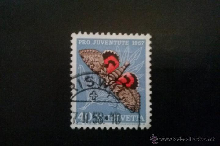 SUIZA YVERT 601 FAUNA MARIPOSAS, PRO JUVENTUD 1957 (Sellos - Extranjero - Europa - Suiza)