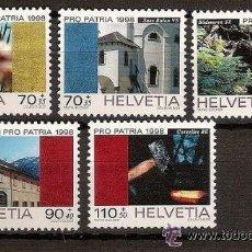Sellos: SUIZA 1998 IVERT 1577/81 *** POR LA PATRIA - BIENES CULTURALES Y PAISAJES. Lote 54912301