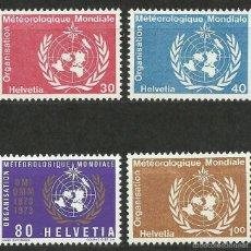 Timbres: SUIZA - 1973 - MICHEL 10/13 // SCOTT 8O10/8O13** MNH (ORGANIZACION MUNDIAL DE METEOROLOGIA). Lote 56605423