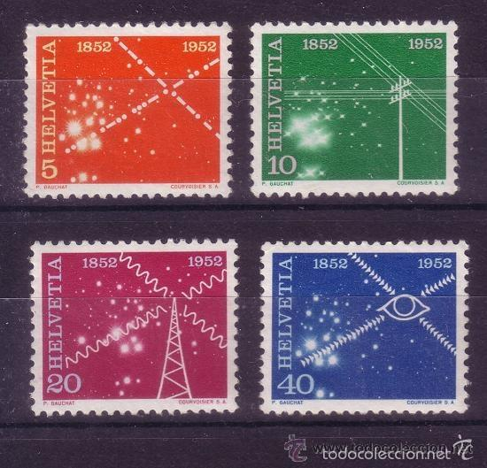 SUIZA 1952 IVERT 517/20 *** CENTENARIO DE LOS SERVICIOS DE TELECOMUNICACIONES (Sellos - Extranjero - Europa - Suiza)