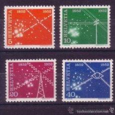 Sellos: SUIZA 1952 IVERT 517/20 *** CENTENARIO DE LOS SERVICIOS DE TELECOMUNICACIONES. Lote 56943764