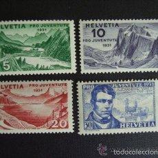 Sellos: SUIZA 1931 IVERT 250/3 *** POR LA JUVENTUD - PAISAJES Y TEOLOGO ALEXANDRE VINET. Lote 57886332