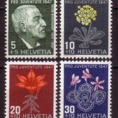 Sellos: SUIZA 1947 IVERT 445/8 *** POR LA JUVENTUD - PERSONAJES Y FLORES. Lote 57977954