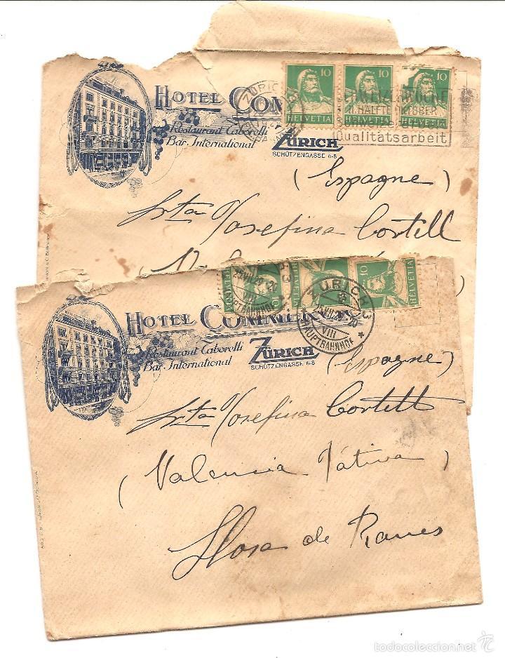 LOTE DOS CARTAS CIRCULADAS A LLOSA DE RANES (VALENCIA) HOTEL COMMERCIO ZURICH AÑO 1929 (Sellos - Extranjero - Europa - Suiza)
