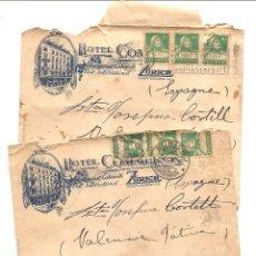 Sellos: LOTE DOS CARTAS CIRCULADAS A LLOSA DE RANES (VALENCIA) HOTEL COMMERCIO ZURICH AÑO 1929. Lote 58091077