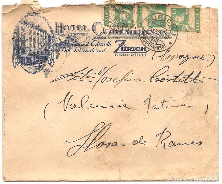 Sellos: LOTE DOS CARTAS CIRCULADAS A LLOSA DE RANES (VALENCIA) HOTEL COMMERCIO ZURICH AÑO 1929 - Foto 2 - 58091077