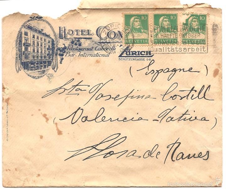Sellos: LOTE DOS CARTAS CIRCULADAS A LLOSA DE RANES (VALENCIA) HOTEL COMMERCIO ZURICH AÑO 1929 - Foto 3 - 58091077