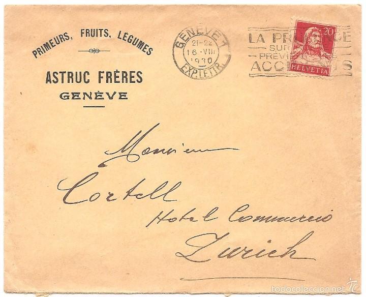SOBRE CIRCULADO DE GINEBRA A ZURICH AÑO 1930 (Sellos - Extranjero - Europa - Suiza)