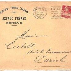 Sellos: SOBRE CIRCULADO DE GINEBRA A ZURICH AÑO 1930. Lote 58091132