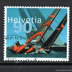 Sellos: SUIZA 1756 - AÑO 2003 - VELA - EQUIPO SUIZO VENCEDOR DE LA COPA AMÉRICA 2003. Lote 59878723