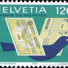 Sellos: SUIZA / HELVETIA AÑO 1983 YVERT SERVICIO Nº 462 S462 ** MNH - UNION POSTAL UNIVERSAL - UPU - PALOMA. Lote 60039231