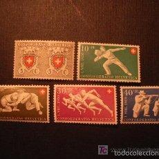 Sellos: SUIZA 1950 IVERT 497/501 *** CENTENARIO DEL SELLO FEDERAL Y FIESTA NACIONAL. Lote 60866739